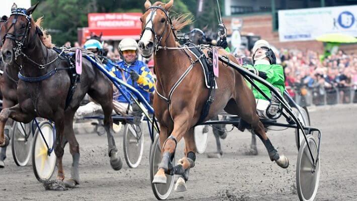 Rene Kjær (i grønt til højre) brød ud i jubel, da han sammen med hesten Axel krydsede målstregen som den første i årets derby. Foto: Billund Trav/ Martin Timm Holmstav