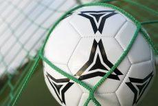 fodbold ligger stille i net