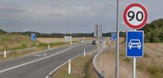 Hastigheden på strækningen mellem Vandel og Bredsten sættes op fra de nuværende 90 til 100 km/t. Foto: Google maps
